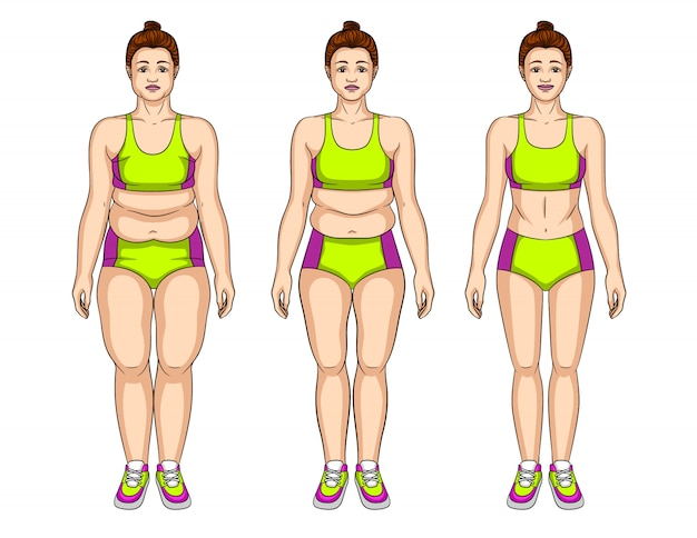 Illustration of young woman before and after slimming Premium Vector