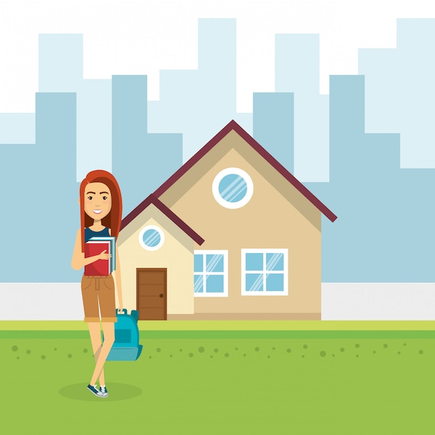 Illustration of young woman outside house Free Vector