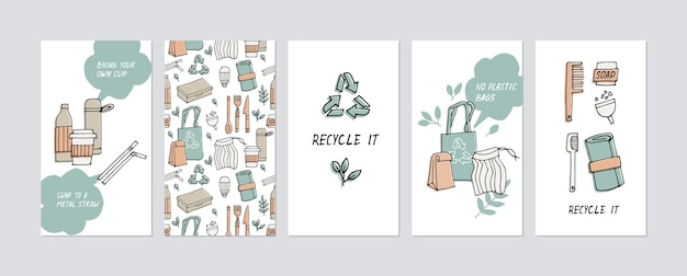Illustration zero waste, recycle, eco friendly tools, collection of ecology icons with slogans. Premium Vector