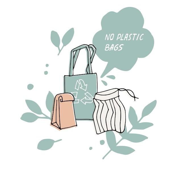Illustration zero waste recycle no plastic bags environment protection quote Premium Vector