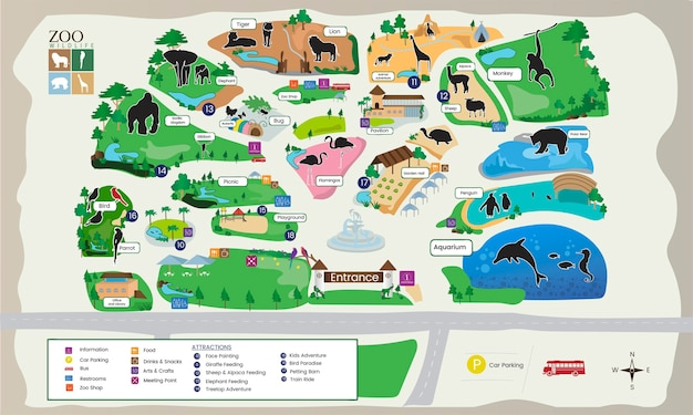 Illustration of zoo park map Free Vector