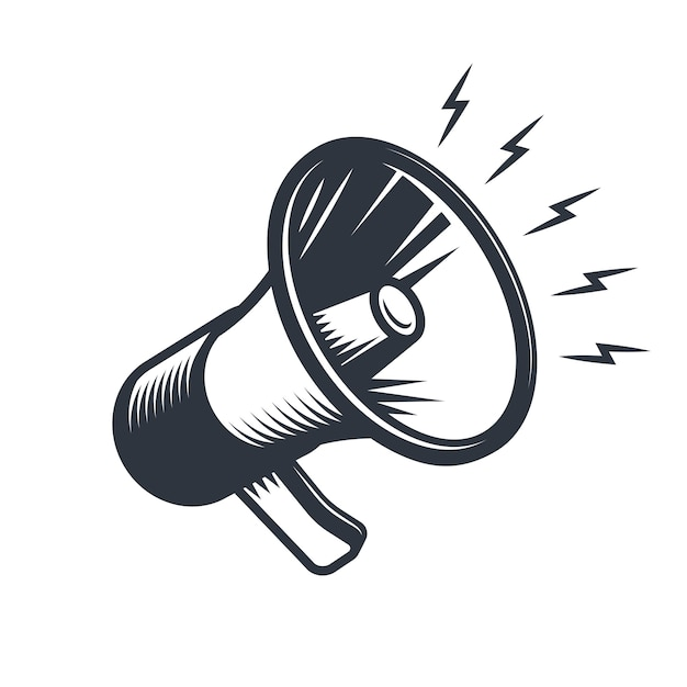 Illustrationn of megaphone. monochrome style. isolated on white background. Free Vector
