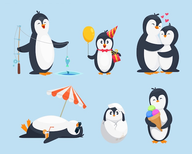 Illustrations of baby pinguins in different poses. vector cartoon pictures Premium Vector