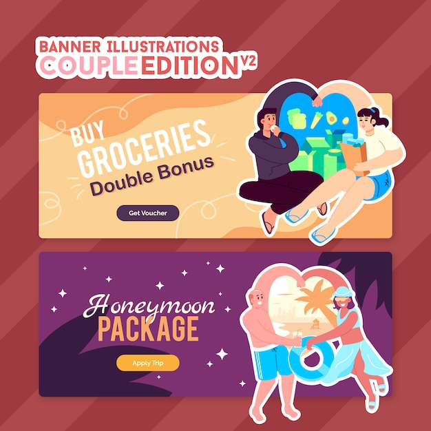 Illustrations for banner - couple edition Premium Vector