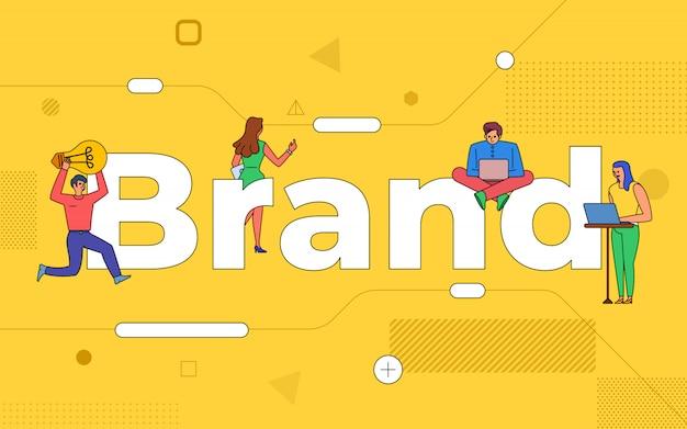 イラストビジネスチームワークは、一緒に働くブランドを作成します。 buildindテキストコンセプトブランディング。説明します。 Premiumベクター