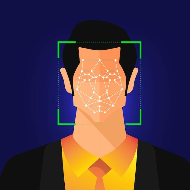 イラストコンセプトの顔認識技術は、スキャンのために人間の顔にポートレートクローズアップで表示されます。バナーのウェブサイトの発行者または雑誌用。説明します。 Premiumベクター