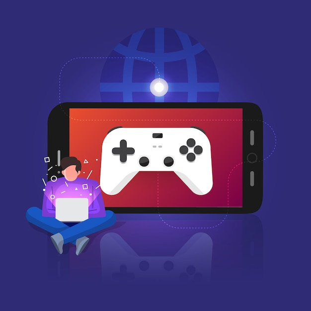 Illustrations concept game streaming Premium Vector