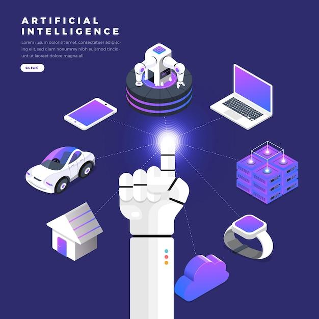 ロボットのイラストコンセプトハンド使用指クリックグラフィックラインテクノロジーモノのインターネット Premiumベクター