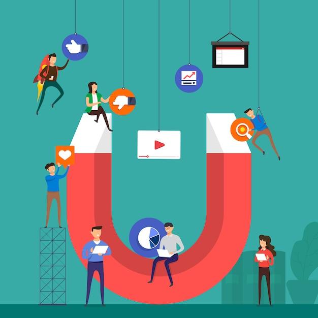 Illustrations concept inbound marketing Premium Vector