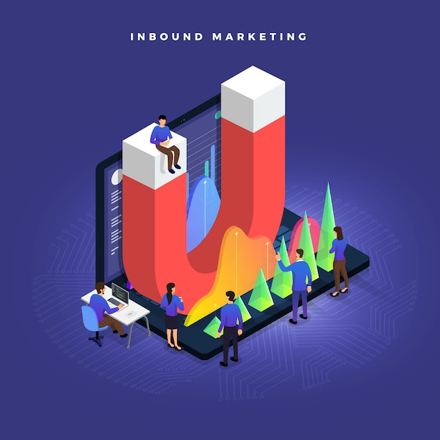 Illustrations concept inbound marketing Premium Vector