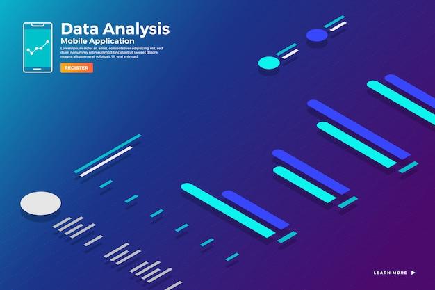 Иллюстрации концепции изометрического анализа данных и отчета о статическом графике и графике. шаблон для баннера шаблона сайта. иллюстрировать. Premium векторы