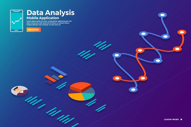 Illustrations concept isometric data  analysis and report static wit graph and chart graphic. template  for website template banner.  illustrate. Premium Vector