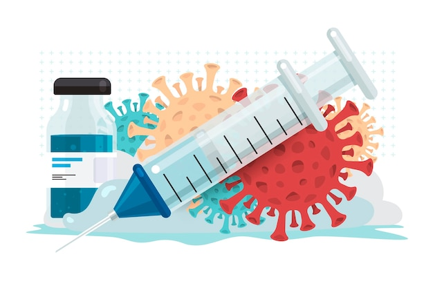 Иллюстрации концепции вакцина от covid-19 Premium векторы