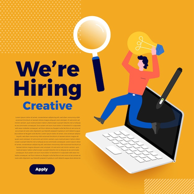 Illustrations   concept we're hiring. announce  finding employee and recruit worker to company.  illustrate. Premium Vector