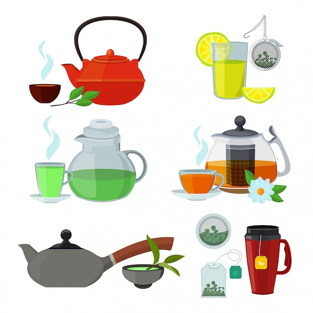Illustrations of cups and kettles for different types of tea Premium Vector