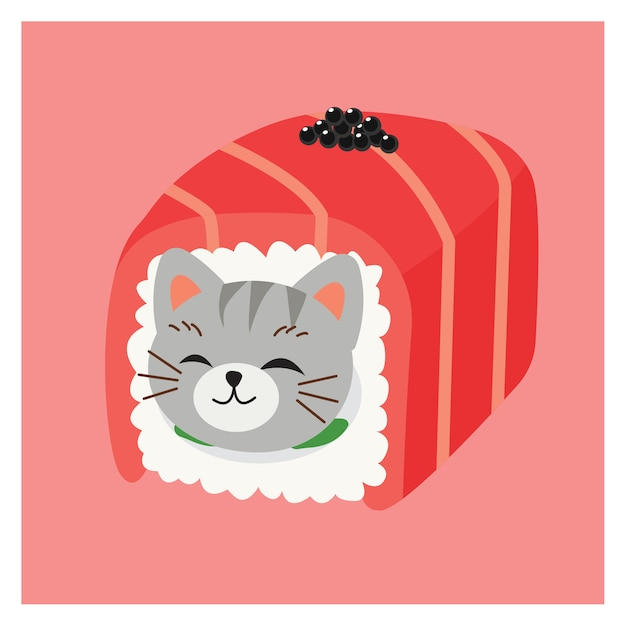 Illustrations of cute kitty cat in sushi,  japanese sushi rolls, tuna roll with caviar. kawaii vector sushi cat. Premium Vector