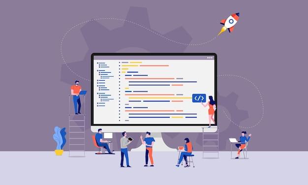 イラストデザイン開発者またはプログラマーの開発コードとウェブサイト Premiumベクター