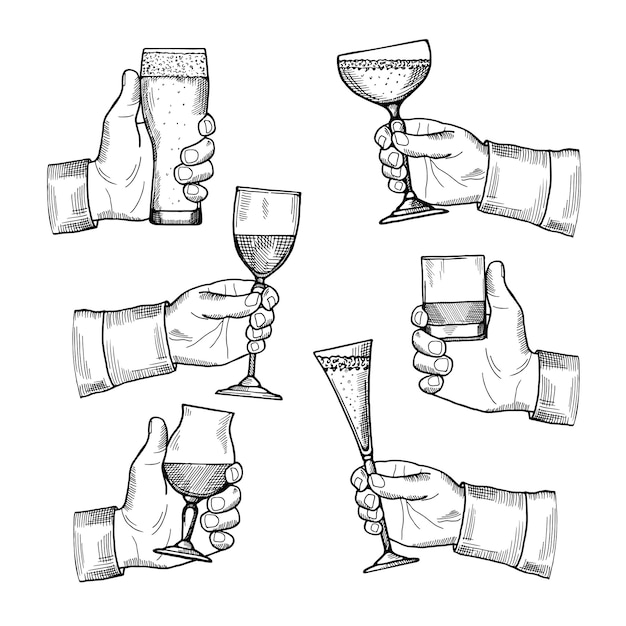 Illustrations of different alcoholic drinking glasses in hands. Premium Vector