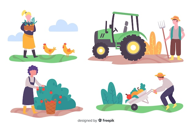 Illustrations of farmers working pack Free Vector