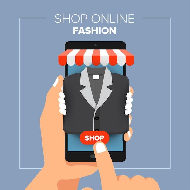 삽화 평면 디자인 개념 모바일 쇼핑 온라인 상점. 손을 잡고 모바일 판매 패션 쇼핑. 프리미엄 벡터