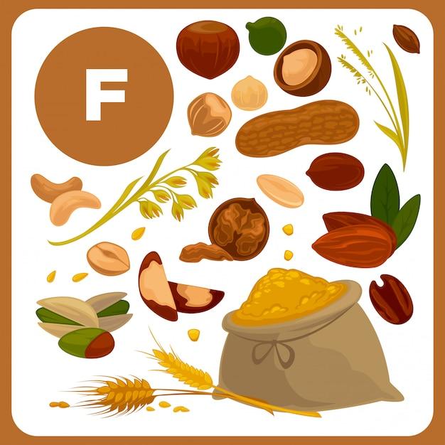 Illustrations of food with vitamin f. Premium Vector