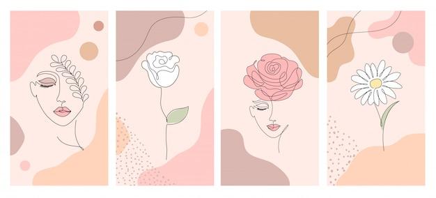 Иллюстрации для социальных сетей Premium векторы
