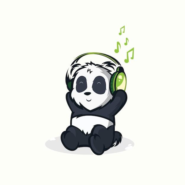 Illustrations of funny pandas listening to music Premium Vector