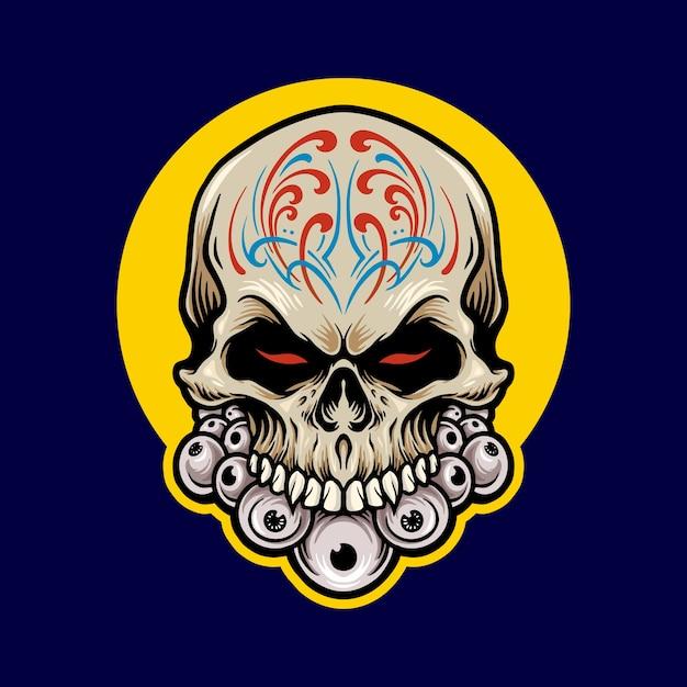 Иллюстрации мексиканский сахарный череп dia de los muertos Premium векторы