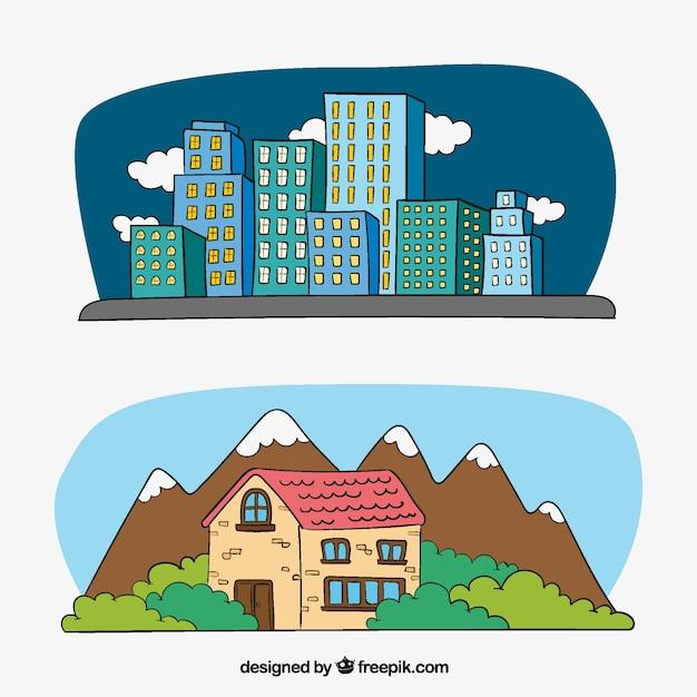 도시에있는 건물과 시골에있는 집의 삽화 무료 벡터