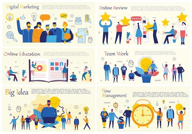 フラットスタイルのオフィスコンセプトビジネス人々のイラスト。 eコマース、時間とプロジェクト管理、スタートアップ、デジタルマーケティングビジネスコンセプト。 Premiumベクター