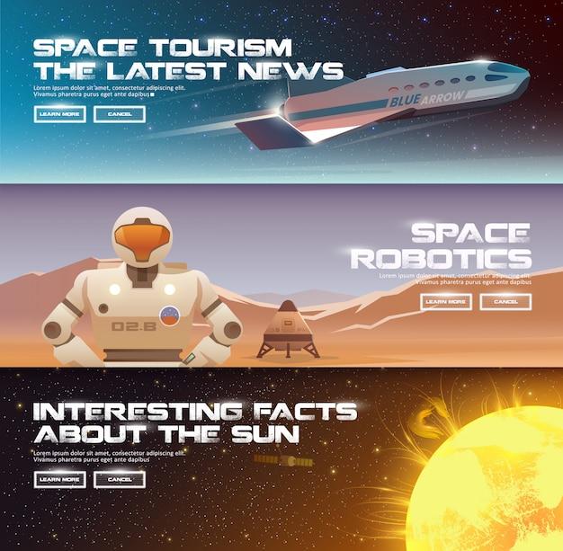 テーマのイラスト:天文学、宇宙飛行、宇宙探査、植民地化、宇宙技術。 webバナー。スペース植民地化。超重量ロケット。マーズ・ローバー。 Premiumベクター