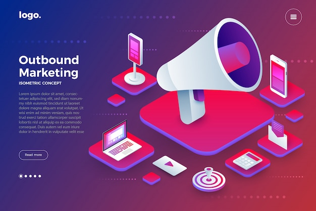 Illustrations outbound marketing Premium Vector