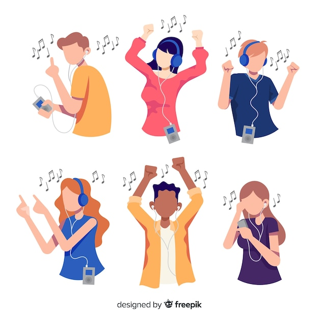 Illustrations of people listening music Free Vector