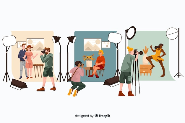 Illustrations of photographers doing their job set Free Vector