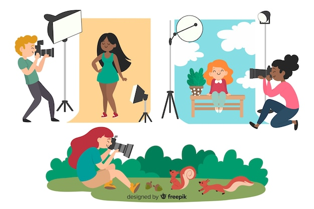 Illustrations of photographers doing their job Free Vector