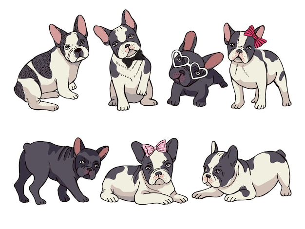 Illustrations set of cute little french bulldog. funny pictures of puppy Premium Vector