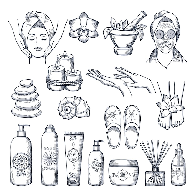 Набор иллюстраций для спа-салона. свечи, масла и камни, водная терапия. косметическая терапия и спа-релаксация для хорошего самочувствия Premium векторы