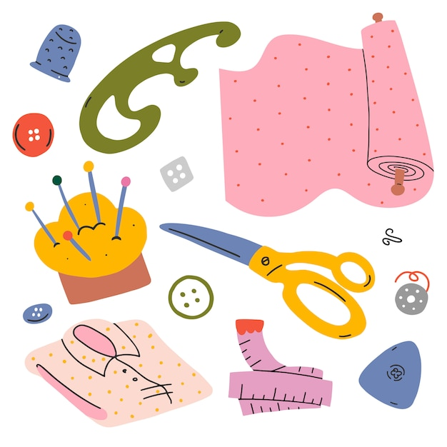 Illustrations set for sewing and clothes Premium Vector