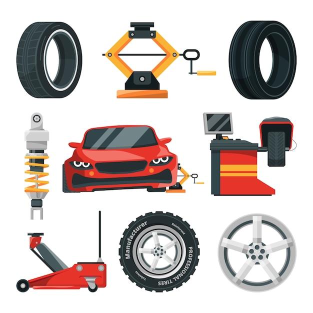 Illustrations of tires service Premium Vector
