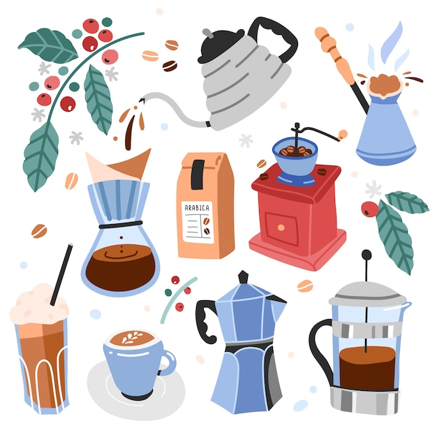Illustrations of utensils and tools for brewing coffe Premium Vector