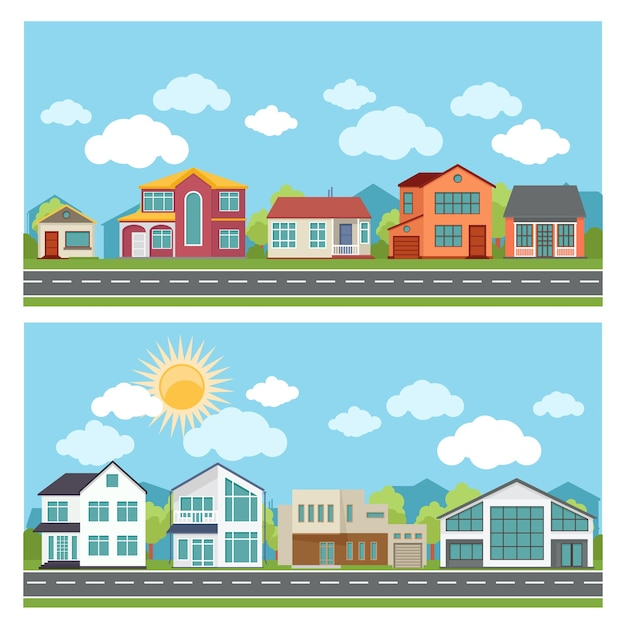 Illustrations with cottage houses in flat design style. Free Vector
