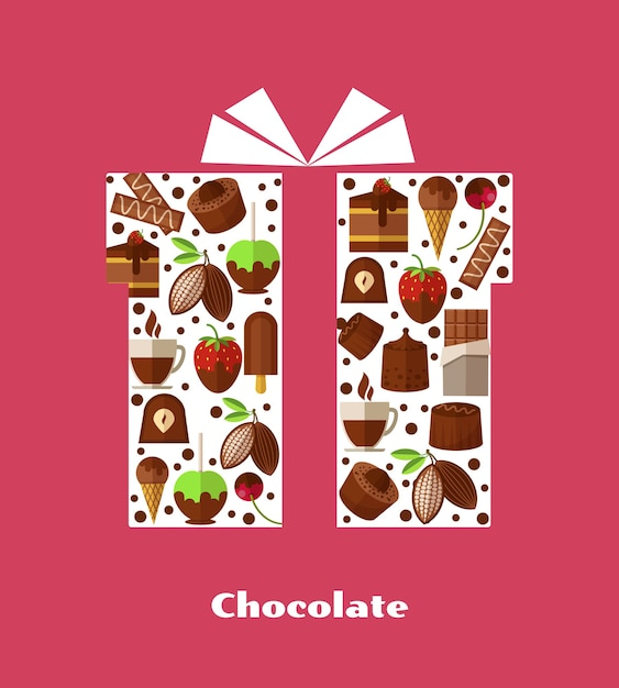 Illustrations with sweets, chocolate and other sweet food. Free Vector