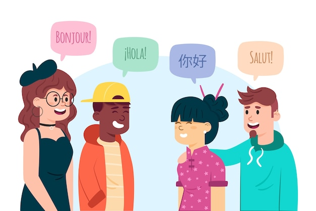 Illustrations of young people talking in different languages Free Vector