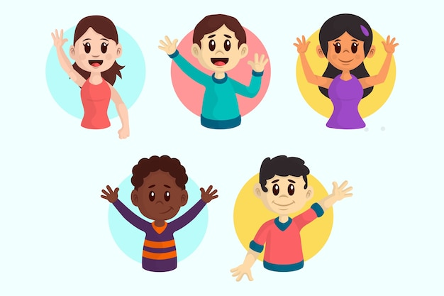 Illustrations of young people waving hand pack Free Vector