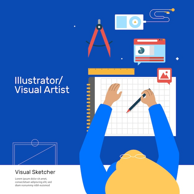 Illustrator artist drawing tools Vector | Premium Download