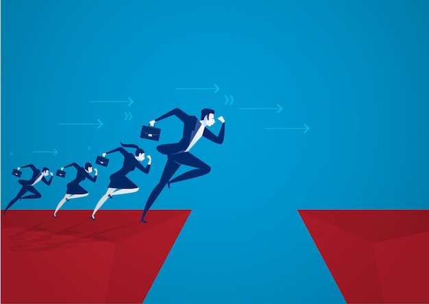 Illustrator businessman jumping over chasm. business success concept ,risk . Premium Vector