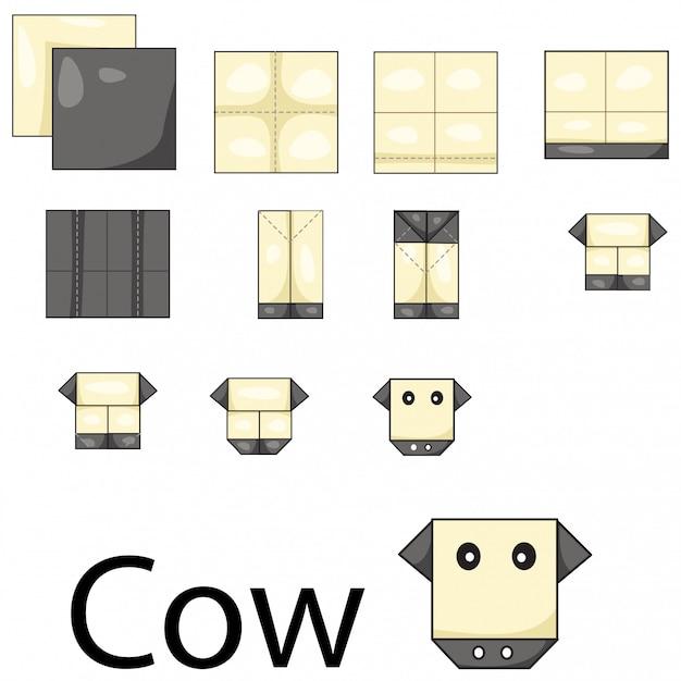 Illustrator of cow origami Premium Vector