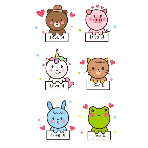 Illustrator of cute animal collection Premium Vector