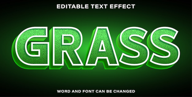 Illustrator editable text effect grass Premium Vector