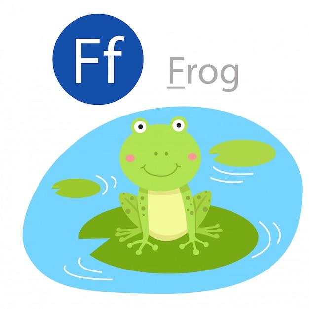 Illustrator of f for frog animal Premium Vector